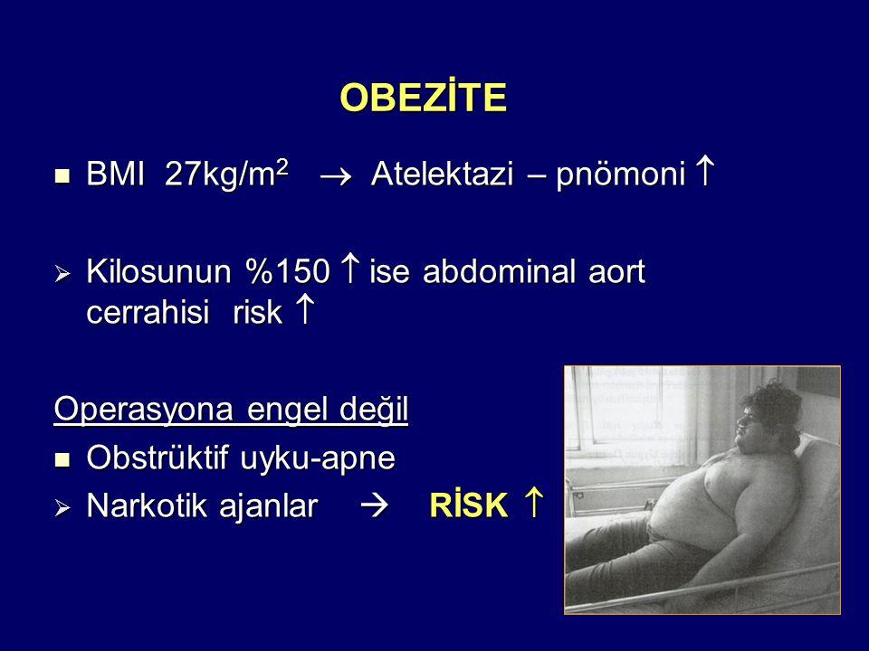 OBEZİTE BMI 27kg/m2  Atelektazi – pnömoni 
