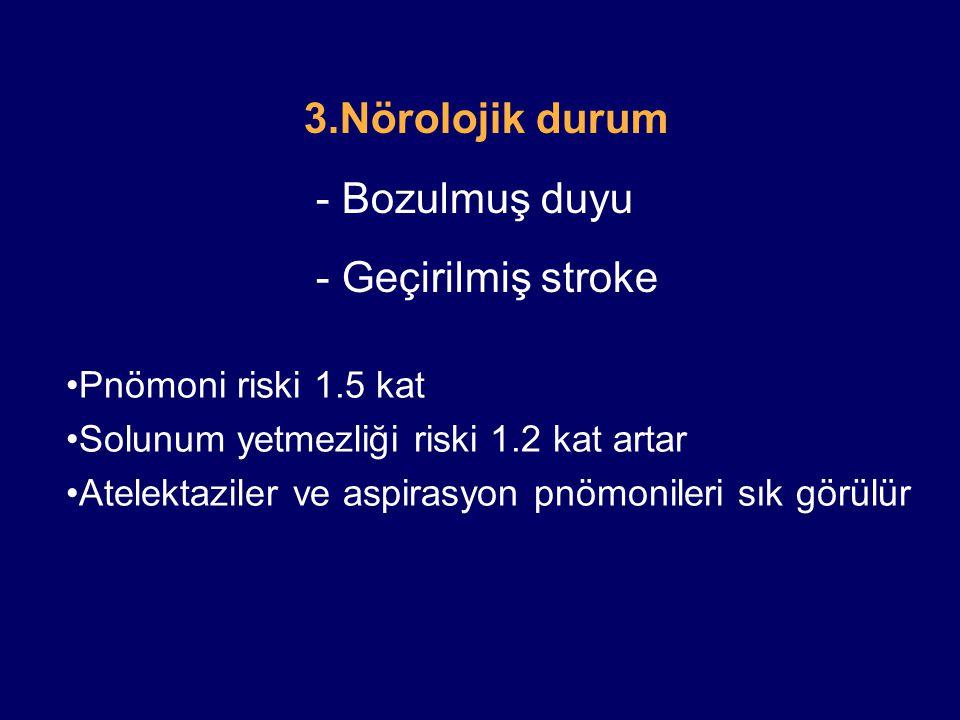 3.Nörolojik durum - Bozulmuş duyu - Geçirilmiş stroke