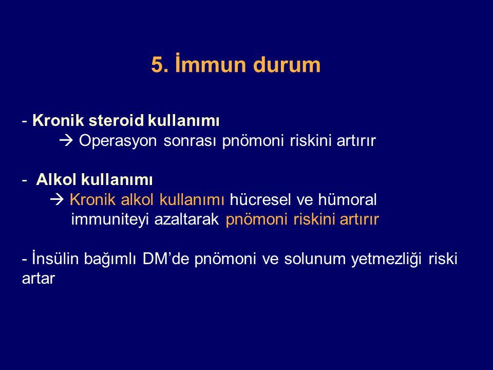 5. İmmun durum Kronik steroid kullanımı