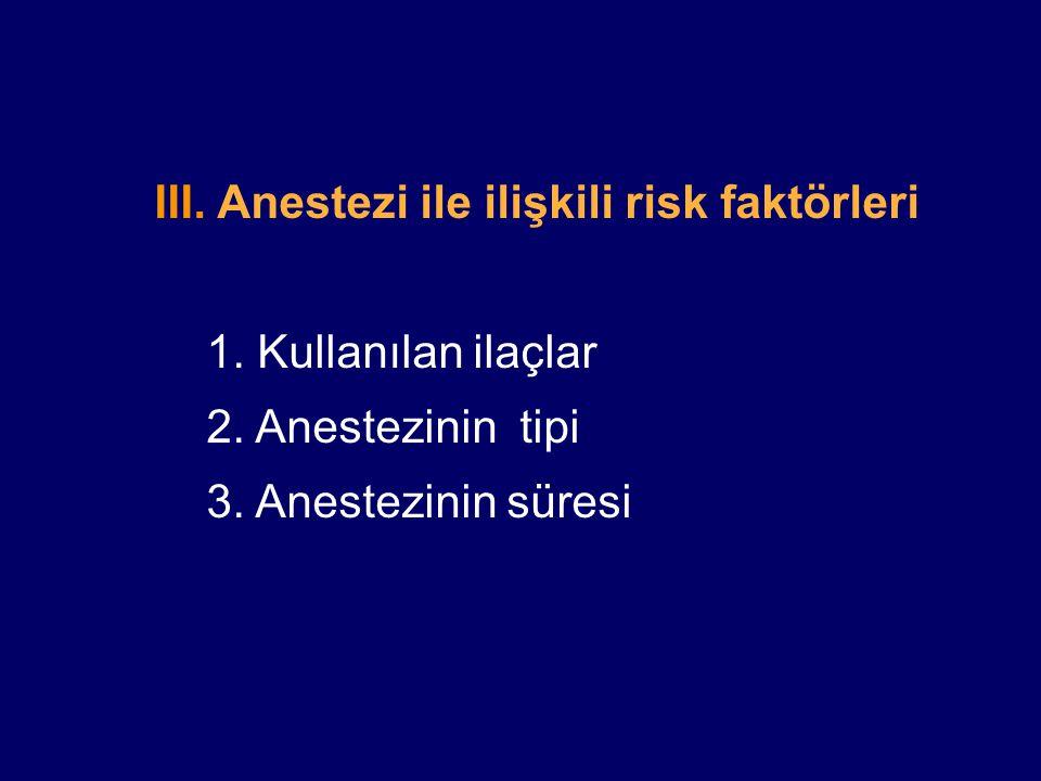III. Anestezi ile ilişkili risk faktörleri
