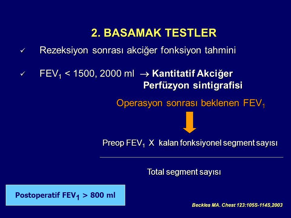 Postoperatif FEV1 > 800 ml