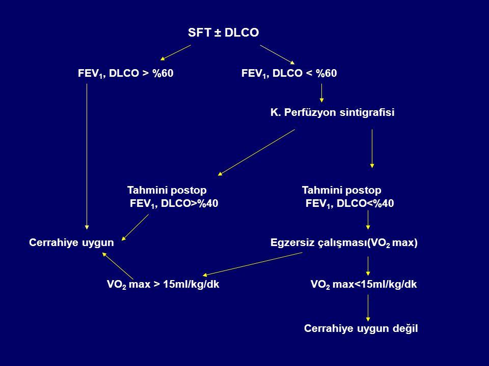 SFT ± DLCO VO2 max > 15ml/kg/dk VO2 max<15ml/kg/dk