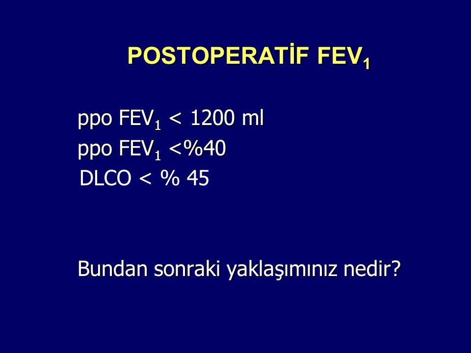 POSTOPERATİF FEV1 ppo FEV1 < 1200 ml ppo FEV1 <%40