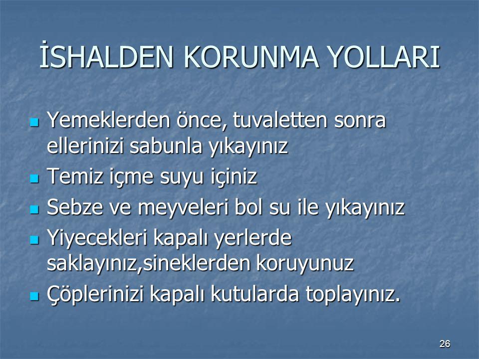 İSHALDEN KORUNMA YOLLARI