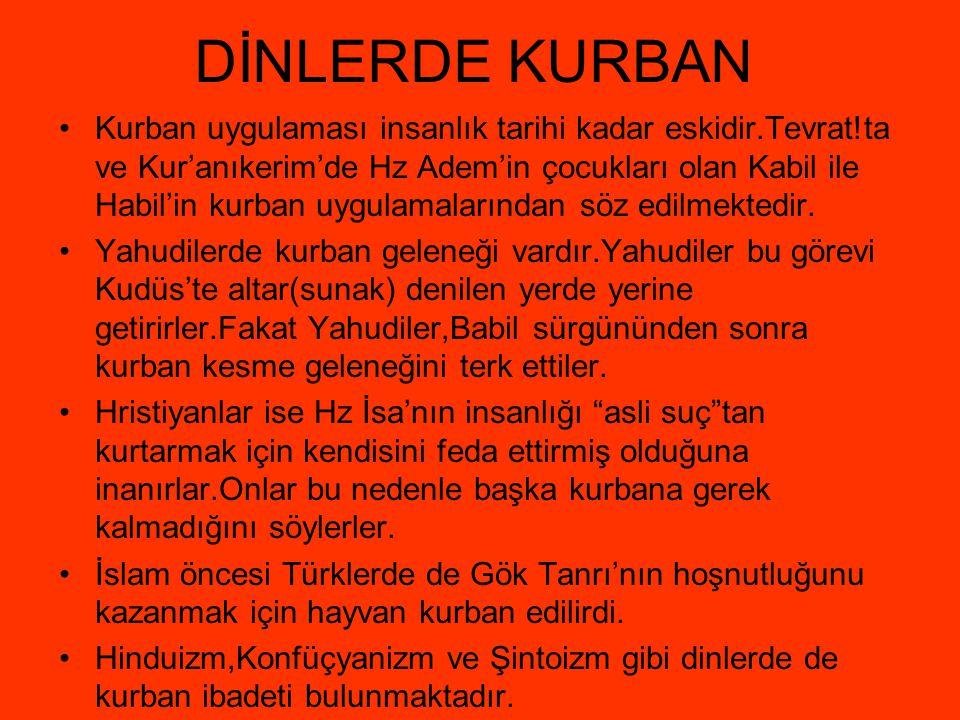 DİNLERDE KURBAN