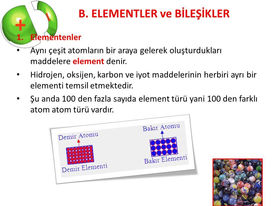 B. ELEMENTLER ve BİLEŞİKLER