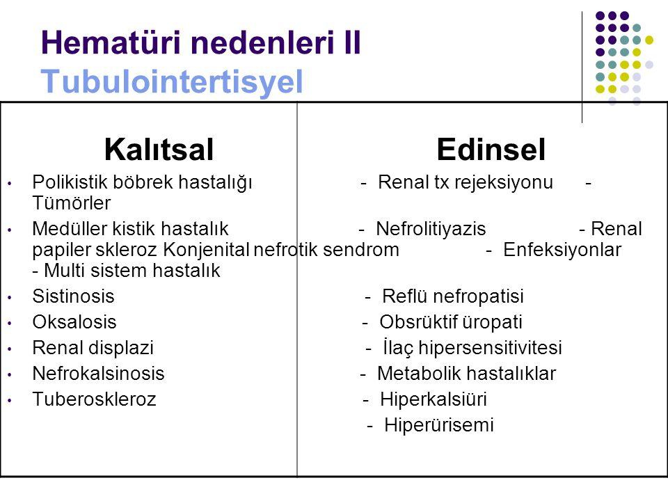 Hematüri nedenleri II Tubulointertisyel