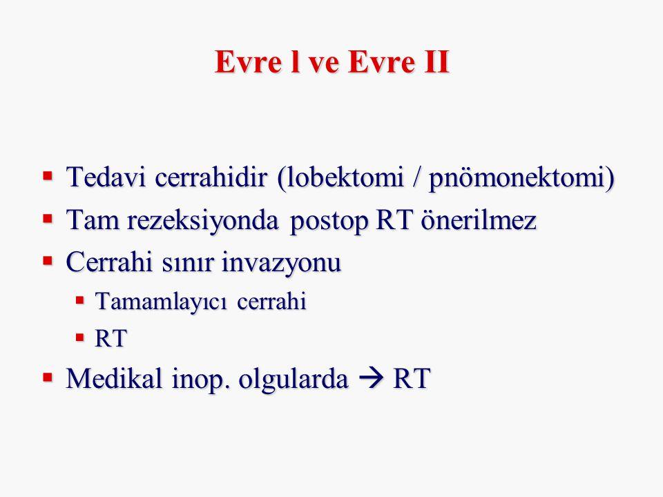 Evre l ve Evre II Tedavi cerrahidir (lobektomi / pnömonektomi)