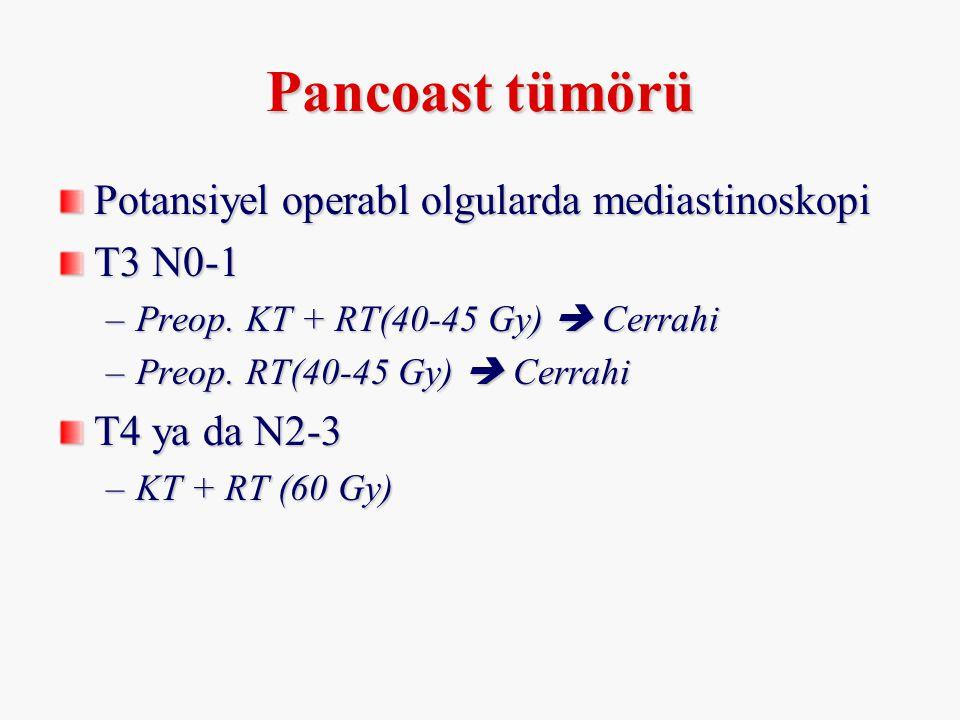 Pancoast tümörü Potansiyel operabl olgularda mediastinoskopi T3 N0-1