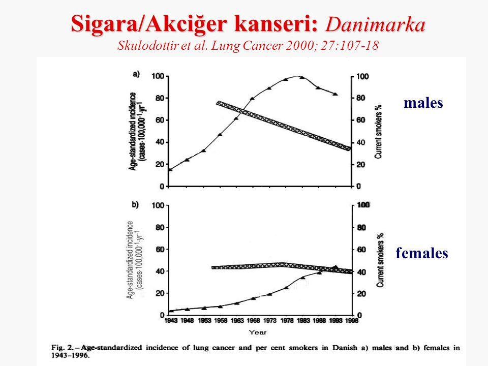 Sigara/Akciğer kanseri: Danimarka Skulodottir et al