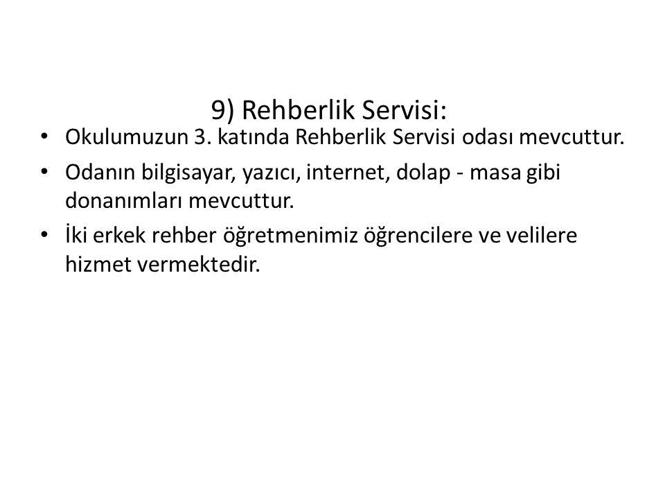 9) Rehberlik Servisi: Okulumuzun 3. katında Rehberlik Servisi odası mevcuttur.