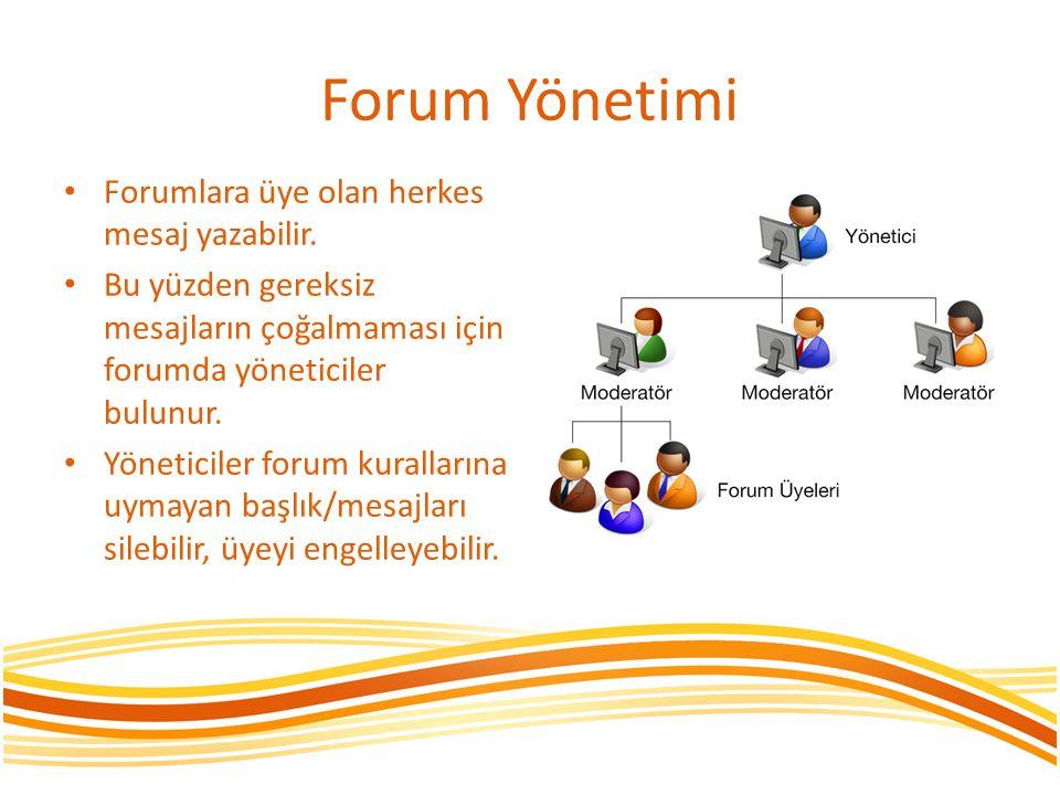 Forum Yönetimi Forumlara üye olan herkes mesaj yazabilir.