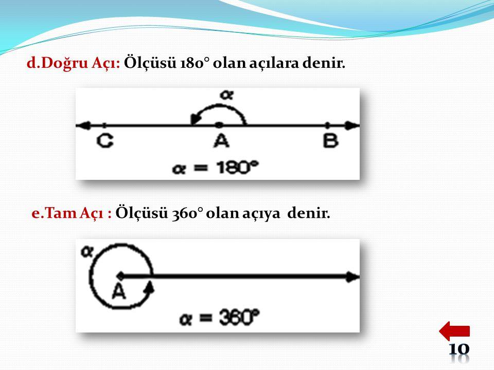 d.Doğru Açı: Ölçüsü 180° olan açılara denir.