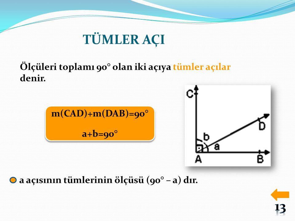 TÜMLER AÇI 13 Ölçüleri toplamı 90° olan iki açıya tümler açılar denir.