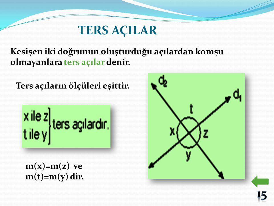 TERS AÇILAR Kesişen iki doğrunun oluşturduğu açılardan komşu olmayanlara ters açılar denir. Ters açıların ölçüleri eşittir.