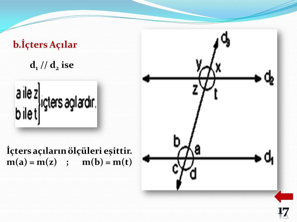 17 b.İçters Açılar d1 // d2 ise İçters açıların ölçüleri eşittir.
