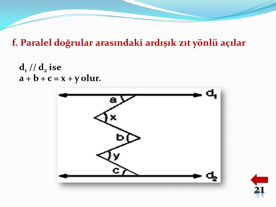 f. Paralel doğrular arasındaki ardışık zıt yönlü açılar