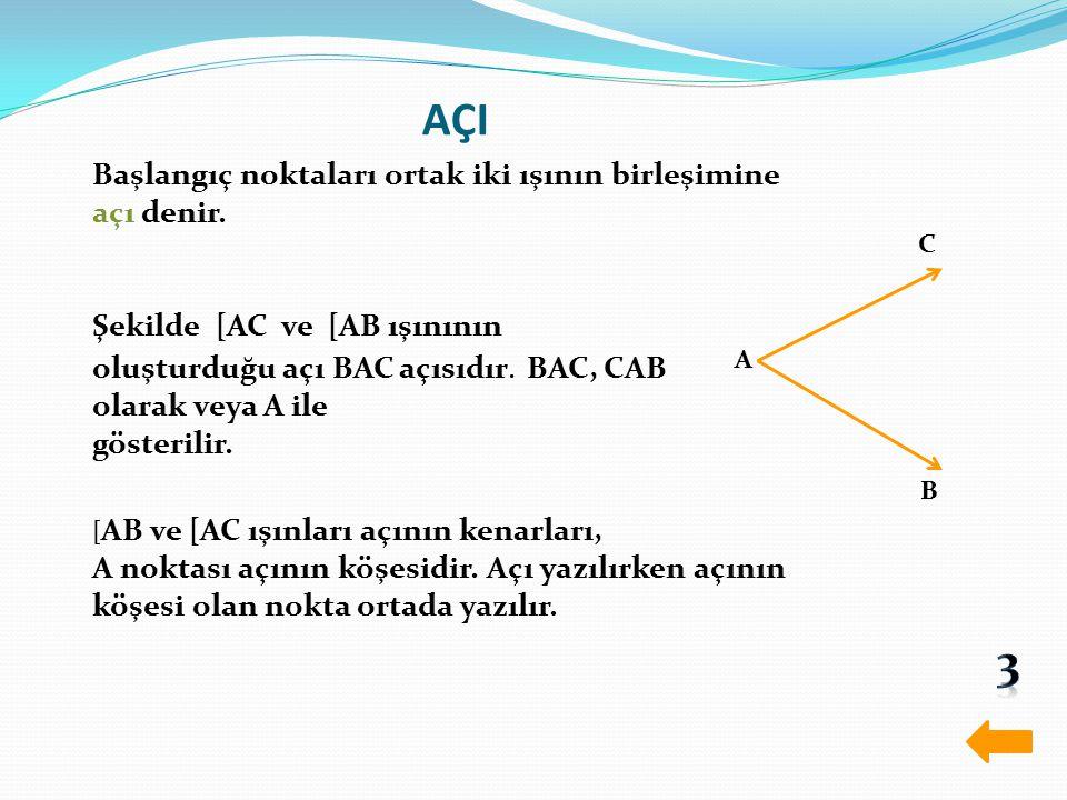 AÇI 3 Başlangıç noktaları ortak iki ışının birleşimine açı denir.