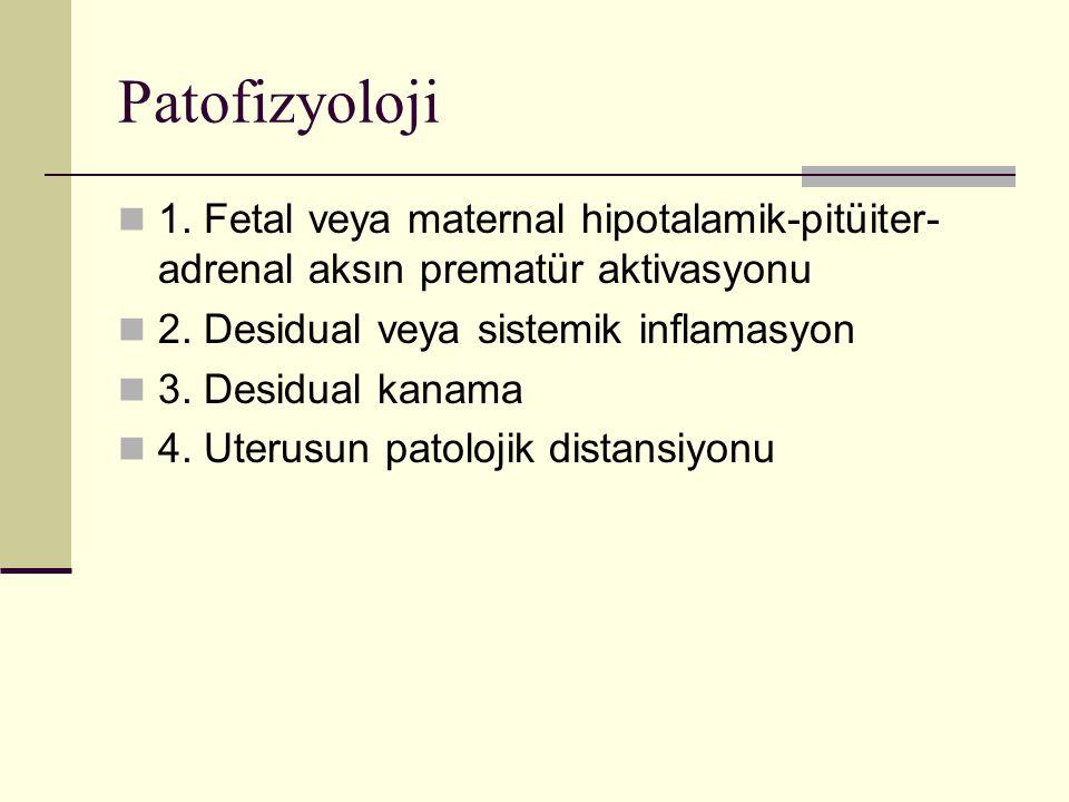 Patofizyoloji 1. Fetal veya maternal hipotalamik-pitüiter-adrenal aksın prematür aktivasyonu. 2. Desidual veya sistemik inflamasyon.