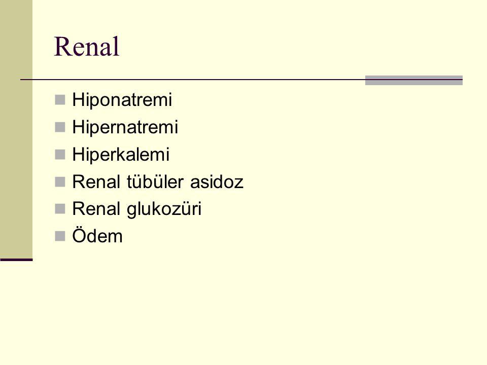 Renal Hiponatremi Hipernatremi Hiperkalemi Renal tübüler asidoz