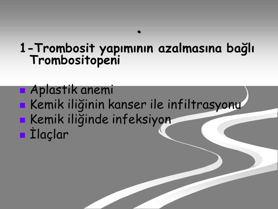 . 1-Trombosit yapımının azalmasına bağlı Trombositopeni Aplastik anemi