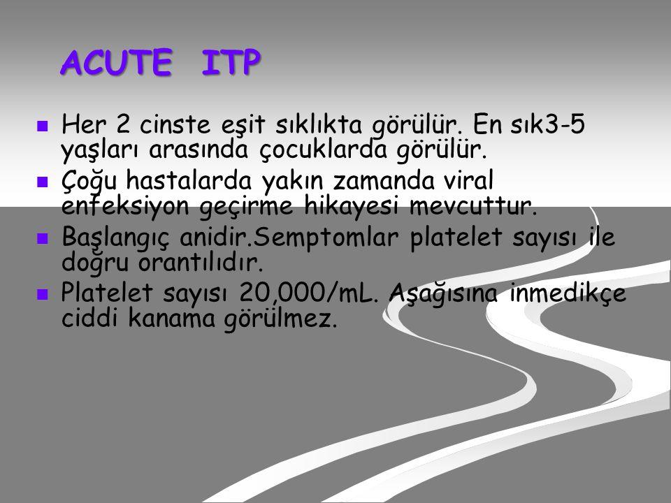 ACUTE ITP Her 2 cinste eşit sıklıkta görülür. En sık3-5 yaşları arasında çocuklarda görülür.