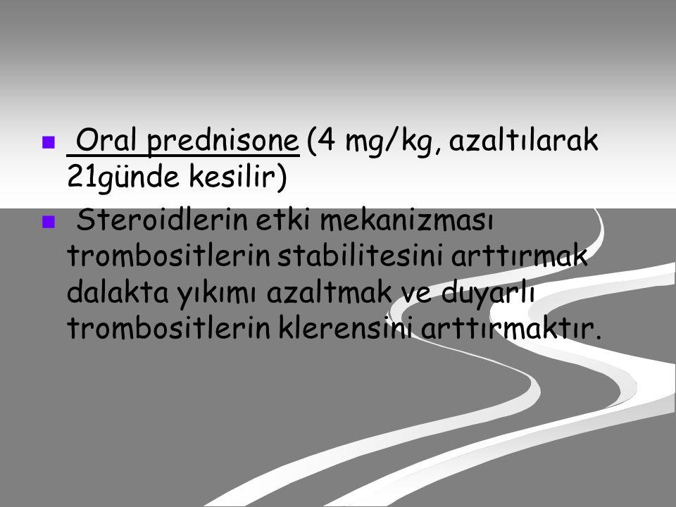 Oral prednisone (4 mg/kg, azaltılarak 21günde kesilir)