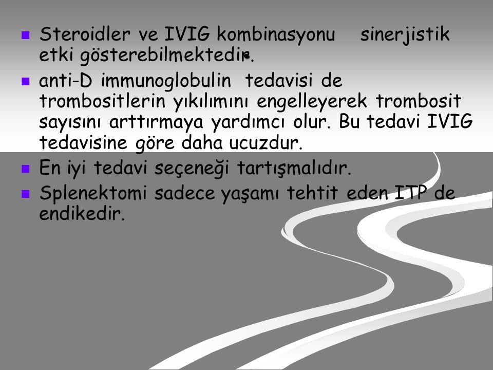 . Steroidler ve IVIG kombinasyonu sinerjistik etki gösterebilmektedir.