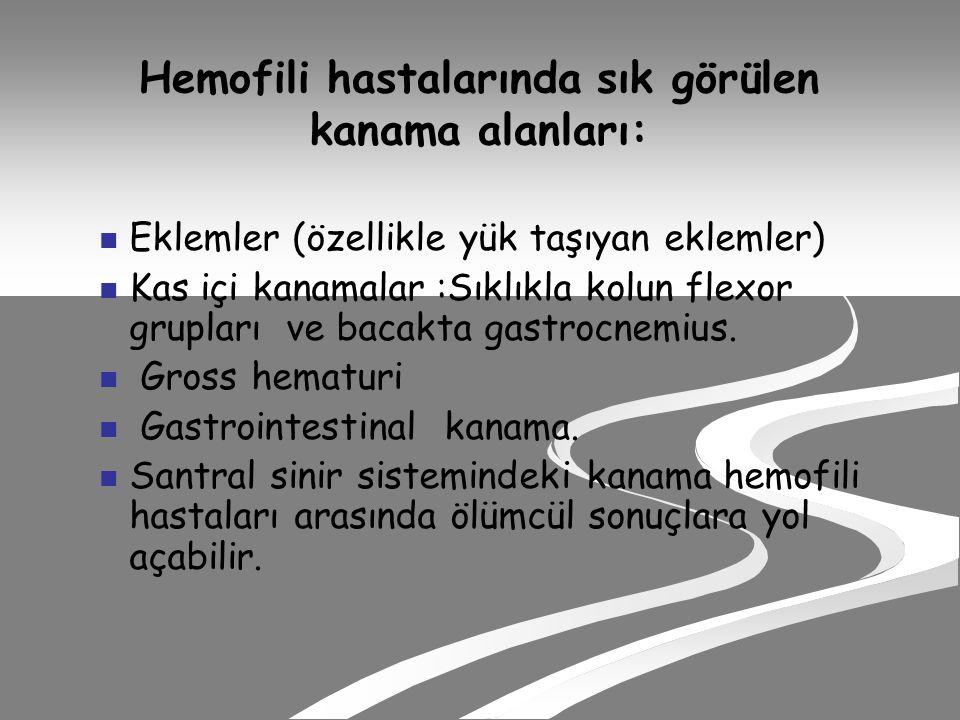 Hemofili hastalarında sık görülen kanama alanları: