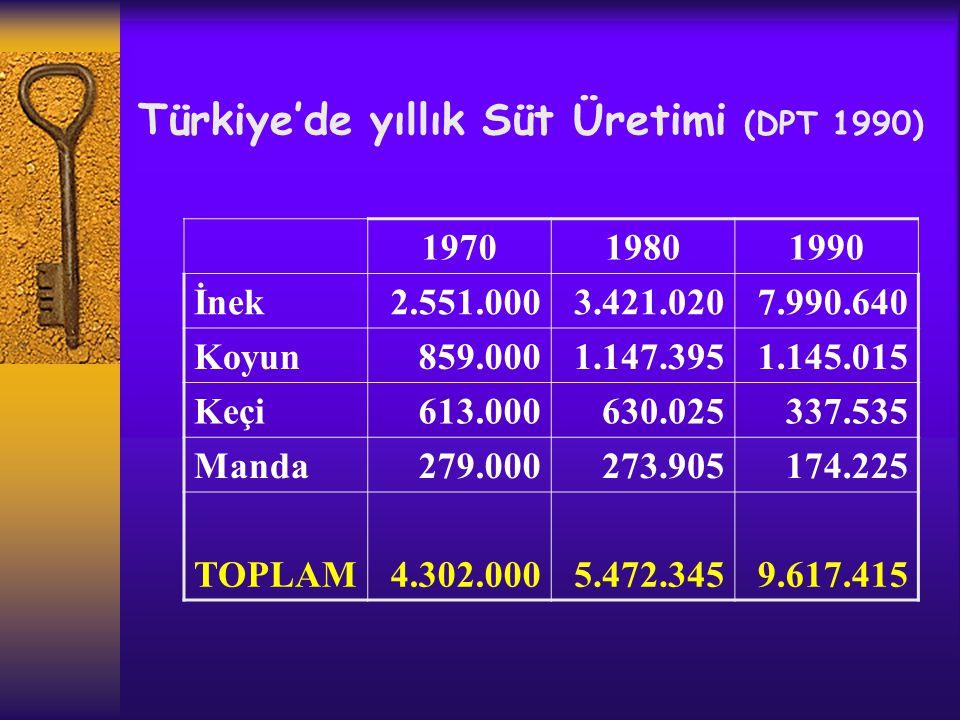 Türkiye'de yıllık Süt Üretimi (DPT 1990)