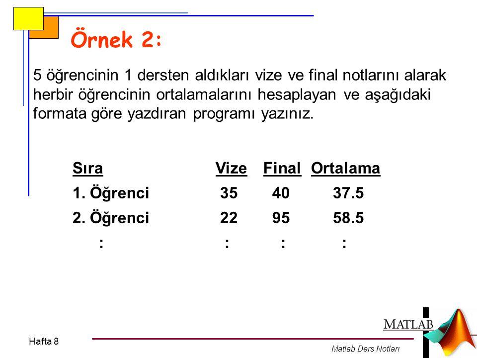 Örnek 2: 5 öğrencinin 1 dersten aldıkları vize ve final notlarını alarak. herbir öğrencinin ortalamalarını hesaplayan ve aşağıdaki.