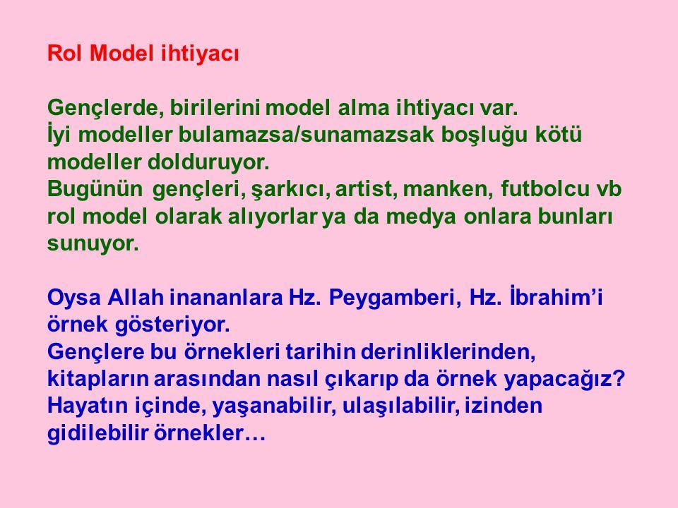 Rol Model ihtiyacı Gençlerde, birilerini model alma ihtiyacı var. İyi modeller bulamazsa/sunamazsak boşluğu kötü modeller dolduruyor.
