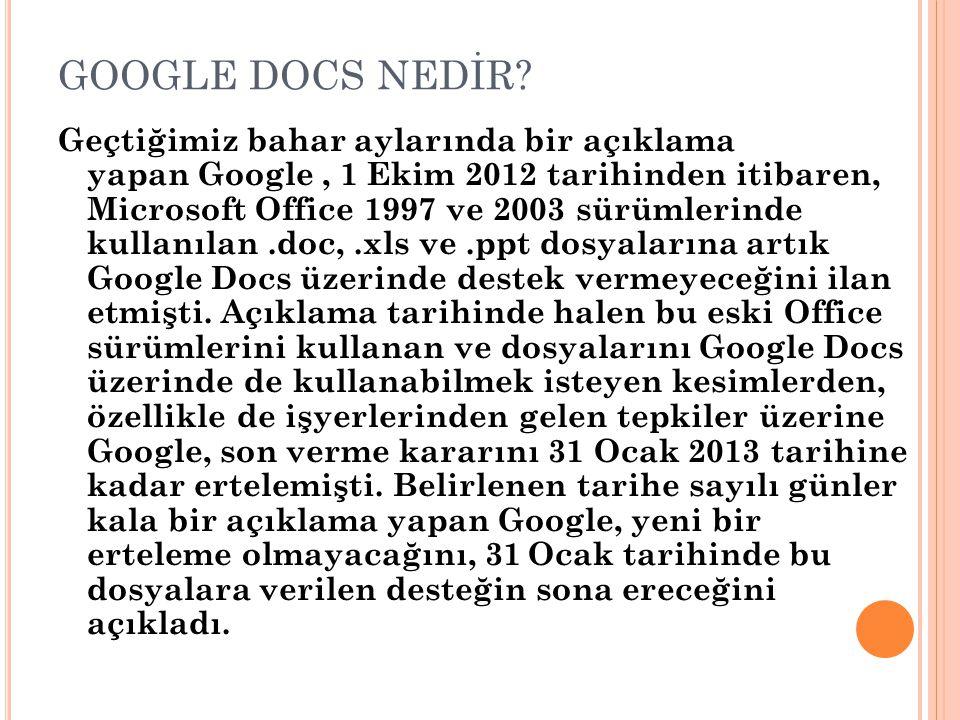 GOOGLE DOCS NEDİR