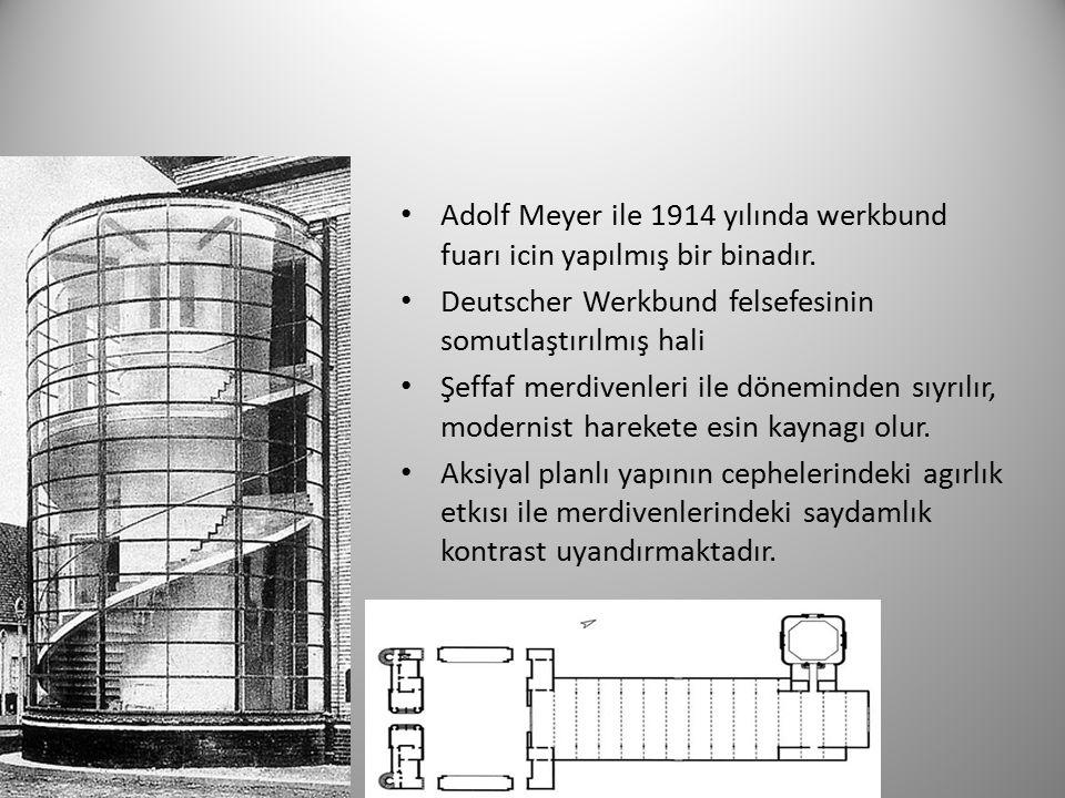 Adolf Meyer ile 1914 yılında werkbund fuarı icin yapılmış bir binadır.