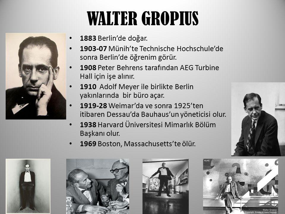 WALTER GROPIUS 1883 Berlin'de doğar.