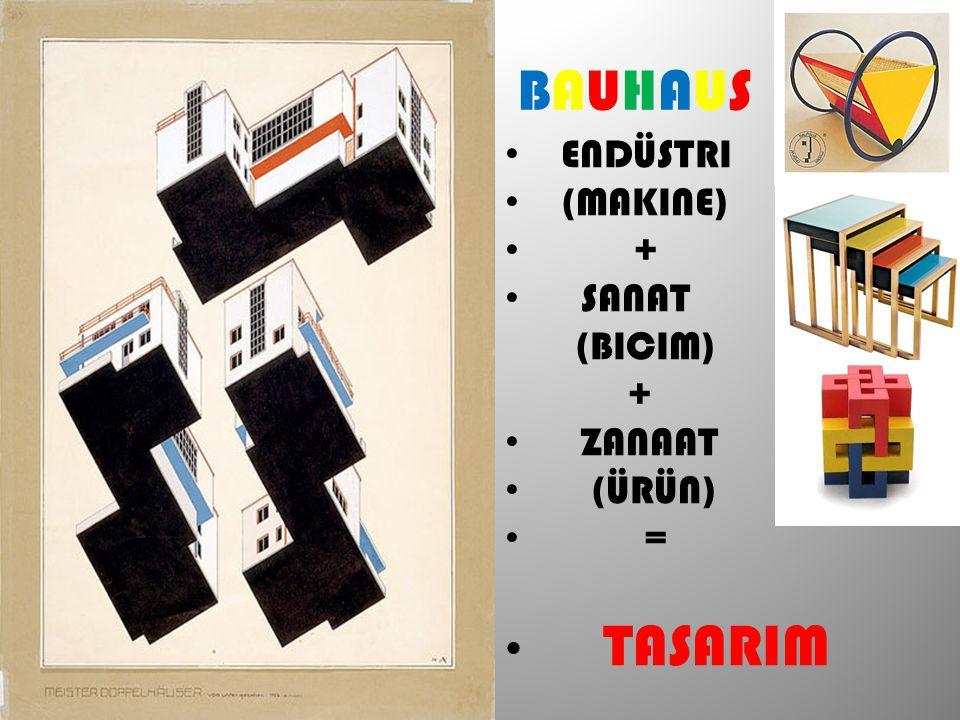 BAUHAUS ENDÜSTRI (MAKINE) + SANAT (BICIM) ZANAAT (ÜRÜN) = TASARIM
