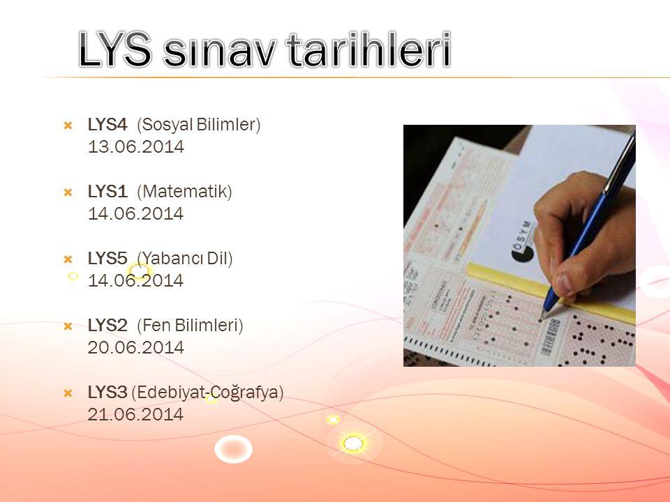 LYS sınav tarihleri LYS4 (Sosyal Bilimler) 13.06.2014 LYS1 (Matematik)
