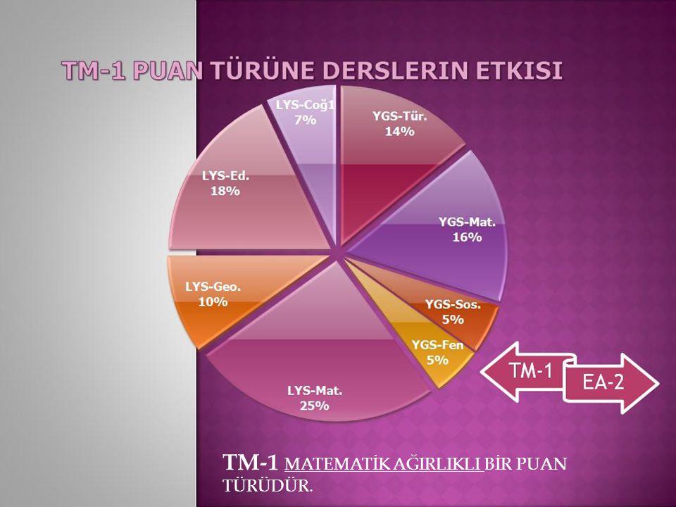 TM-1 MATEMATİK AĞIRLIKLI BİR PUAN TÜRÜDÜR.