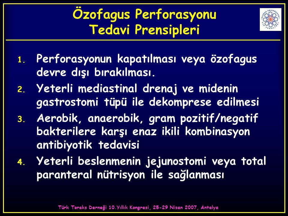Özofagus Perforasyonu Tedavi Prensipleri