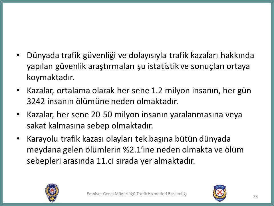 Dünyada trafik güvenliği ve dolayısıyla trafik kazaları hakkında yapılan güvenlik araştırmaları şu istatistik ve sonuçları ortaya koymaktadır.
