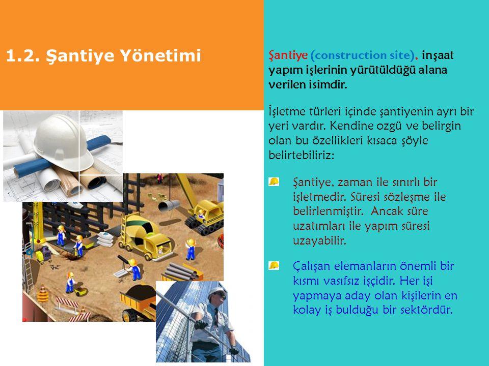 1.2. Şantiye Yönetimi Şantiye (construction site), inşaat yapım işlerinin yürütüldüğü alana verilen isimdir.