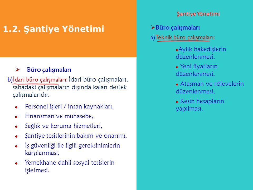 1.2. Şantiye Yönetimi Şantiye Yönetimi Büro çalışmaları