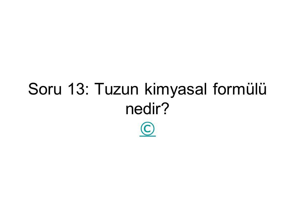 Soru 13: Tuzun kimyasal formülü nedir ©