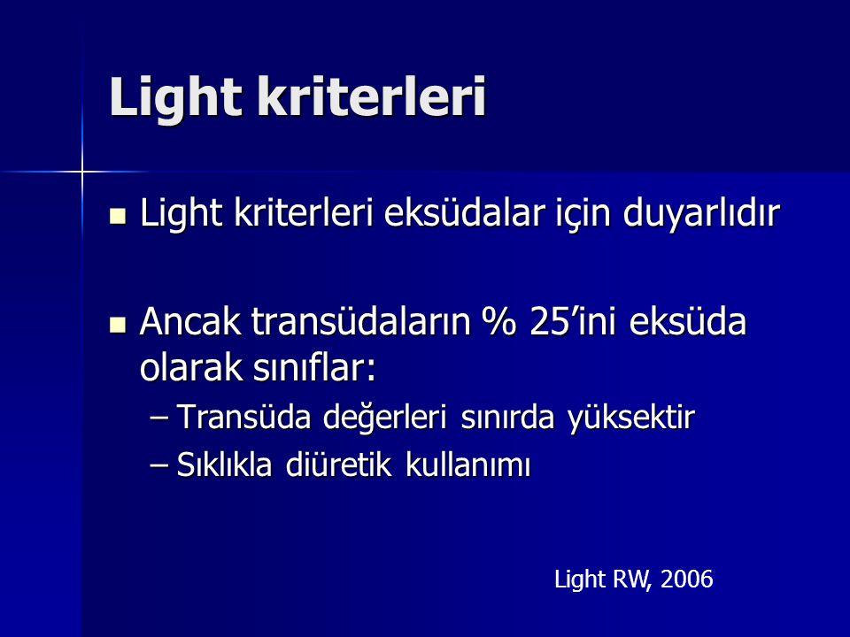 Light kriterleri Light kriterleri eksüdalar için duyarlıdır