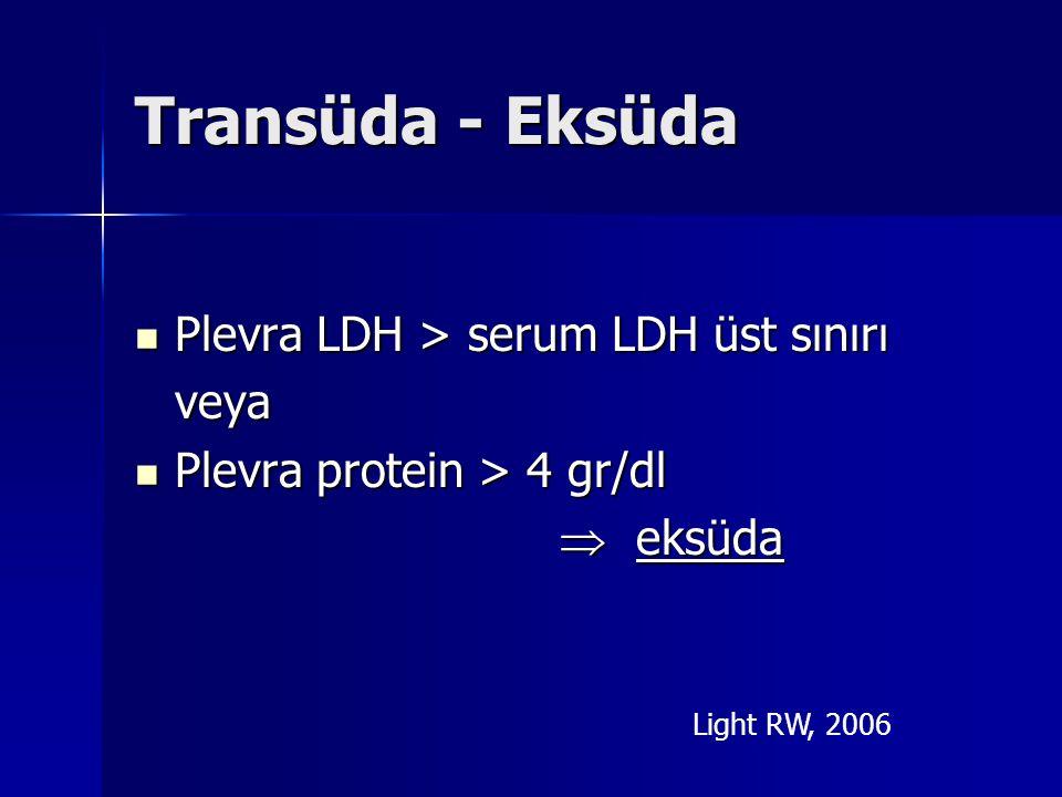 Transüda - Eksüda Plevra LDH > serum LDH üst sınırı veya