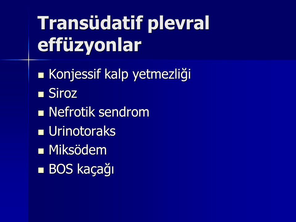 Transüdatif plevral effüzyonlar