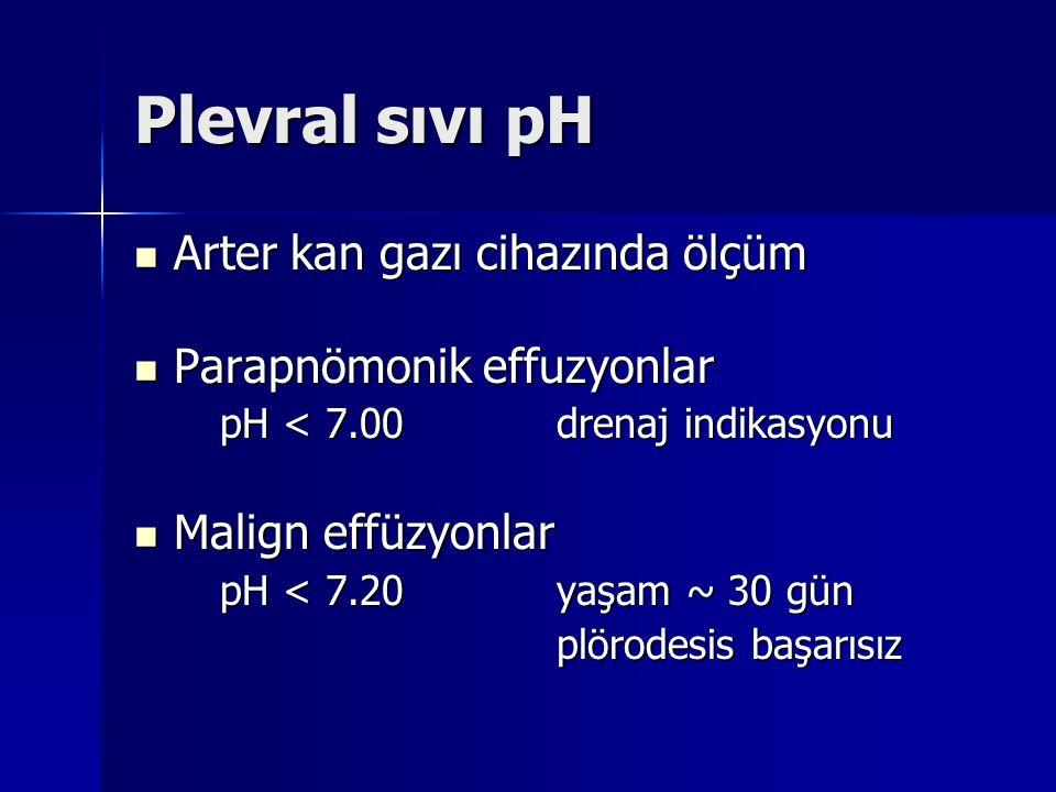 Plevral sıvı pH Arter kan gazı cihazında ölçüm