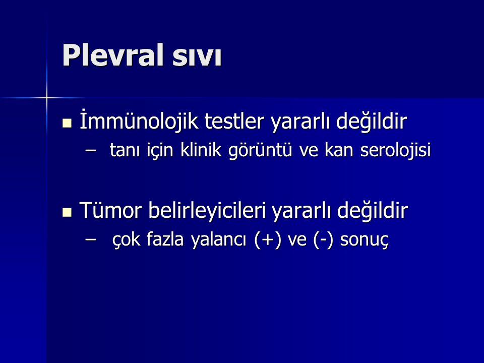 Plevral sıvı İmmünolojik testler yararlı değildir