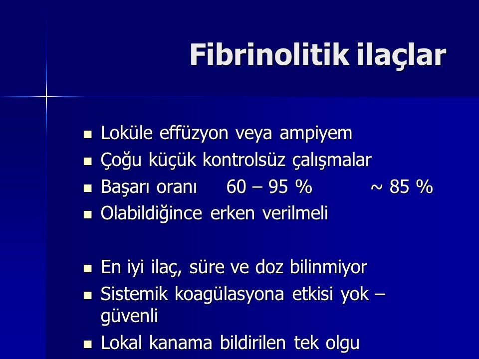Fibrinolitik ilaçlar Loküle effüzyon veya ampiyem