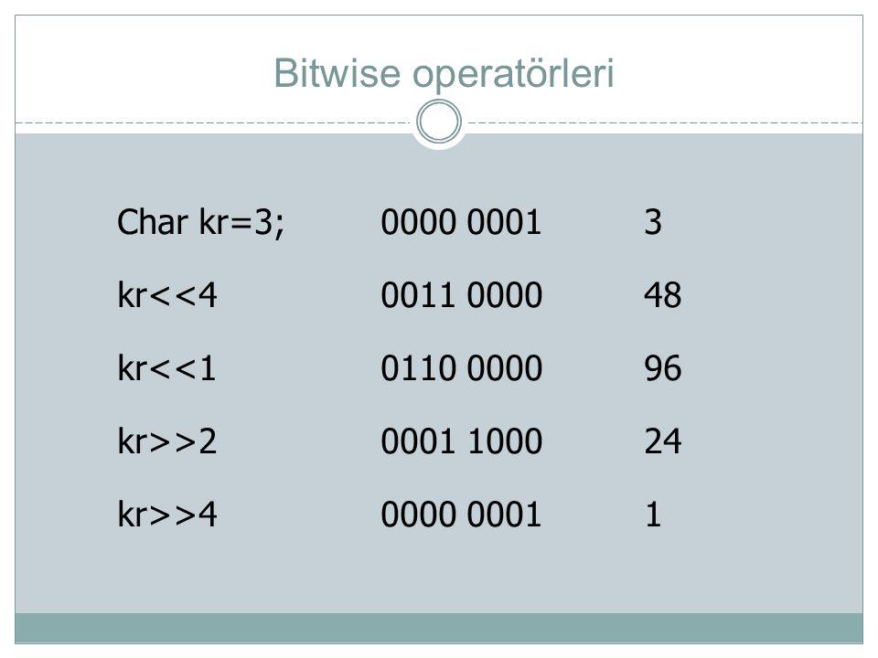 Bitwise operatörleri Char kr=3; 0000 0001 3 kr<<4 0011 0000 48